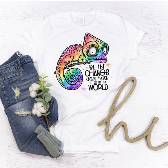 Tops - Colorful Chameleon White Graphic Tee